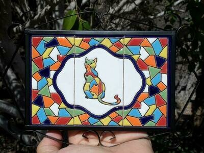 "4"" Mallorca Framed Cat Tile Decor Plaque"