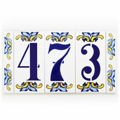 "6"" Escarcha Handmade Spanish Ceramic House Number Three Digits No Frame"
