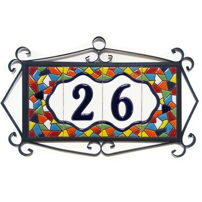 "4"" Mallorca Framed Handmade Spanish Ceramic House Number Two Digits"