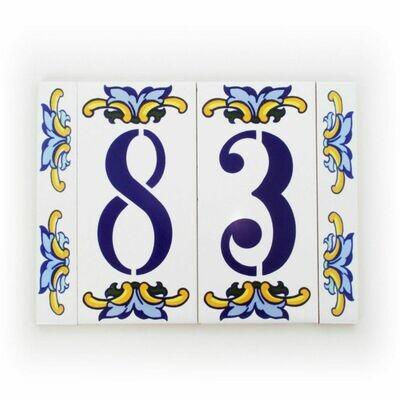 "6"" Escarcha Handmade Spanish Ceramic House Number Two Digits No Frame"