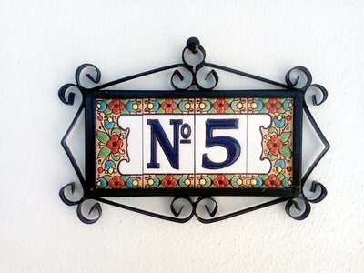 """3"""" Flores Framed Handmade Spanish Ceramic House Number One Digit With Numero Sign"""