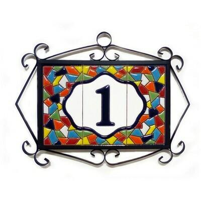 "4"" Mallorca Framed Handmade Spanish Ceramic House Number One Digit"