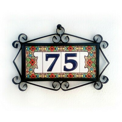 """3"""" Flores Framed Handmade Spanish Ceramic House Number Two Digits"""
