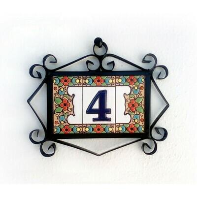 "3"" Flores Framed Handmade Spanish Ceramic House Number One Digit"