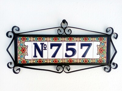 """3"""" Flores Framed Handmade Spanish Ceramic House Number Three Digits With Numero Sign"""