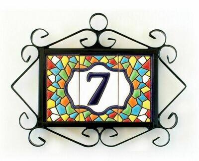 "3"" Mallorca Framed Handmade Spanish Ceramic House Number One Digit"