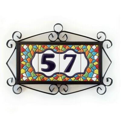 "3"" Mallorca Framed Handmade Spanish Ceramic House Number Two Digits"