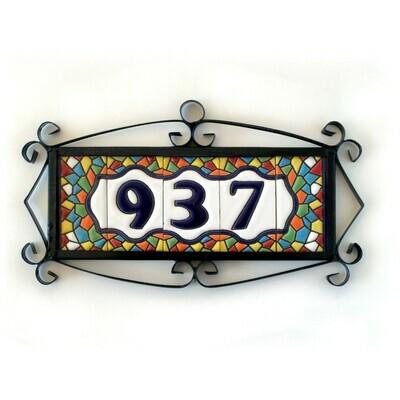 "3"" Mallorca Framed Handmade Spanish Ceramic House Number Three Digits"