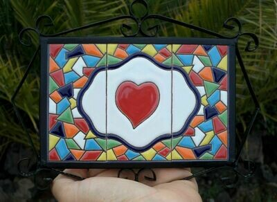 "4"" Mallorca Framed Solid Heart Tile Decor Plaque"