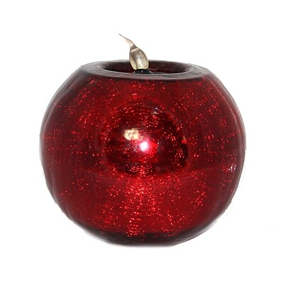 CA523 Red Glass Ball Tea Light Holder