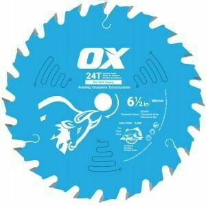 OX PRO WOOD CUTTING 24T TOOTH COATED SAW BLADE - 165mm