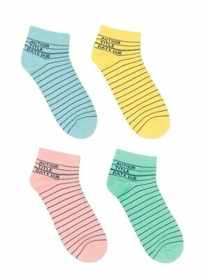 Library Card ankle socks 4-pack (small)