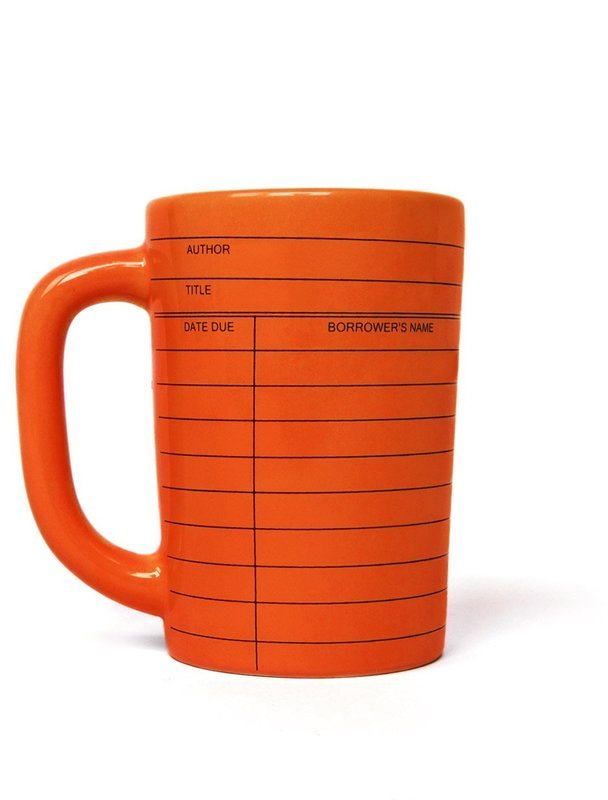 Library Card orange mug