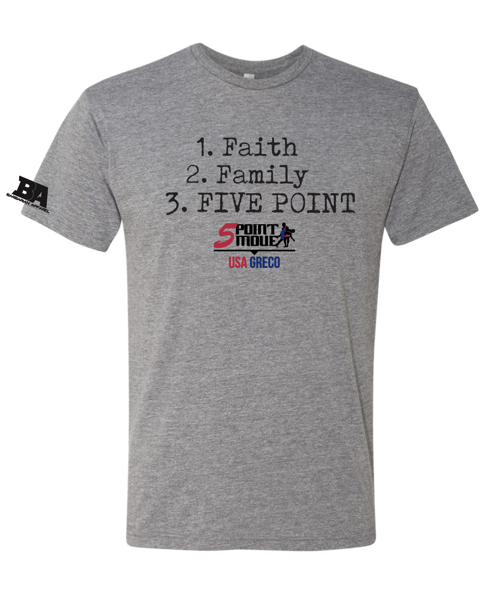 Faith, Family, FIVE POINT Triblend Shirt