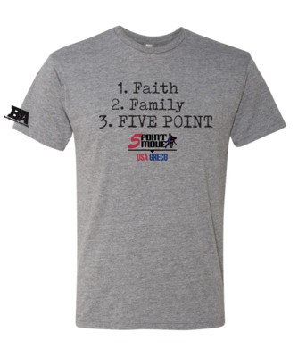 Faith, Family, FIVE POINT Triblend Shirt