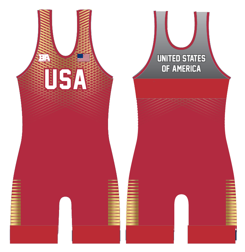 NEW USA BARBARIAN SINGLET RED/GOLD **CUSTOM NAME**