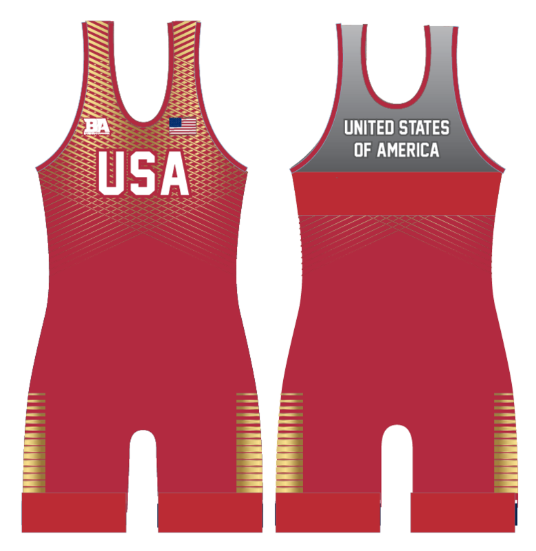 NEW USA BARBARIAN SINGLET RED/GOLD