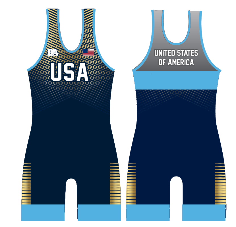 NEW USA BARBARIAN SINGLET BLUE/GOLD