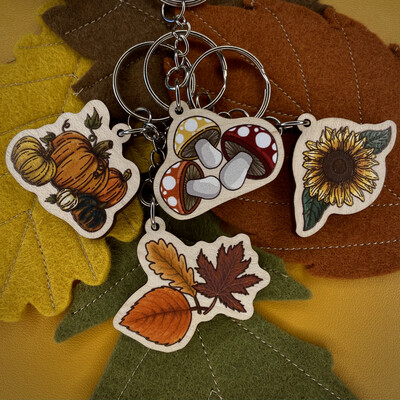 Autumnal Wooden Charms- All 4