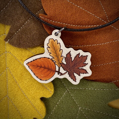 Autumn Leaves- Wooden Charm