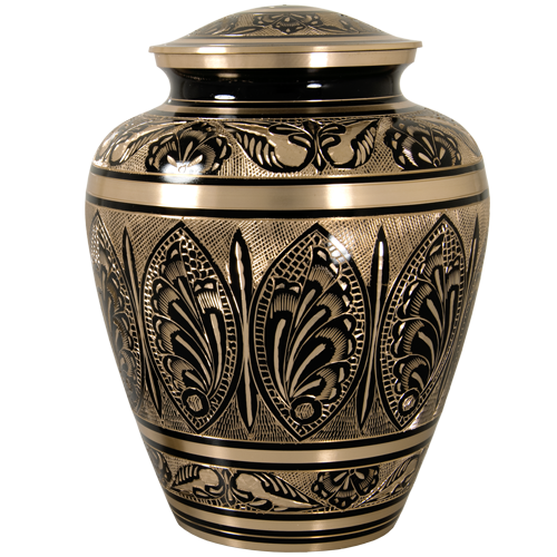 Ornate Etched Black and Brass Urn