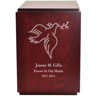 Classic Cherry Finish Wood Urn with Engraved Dove
