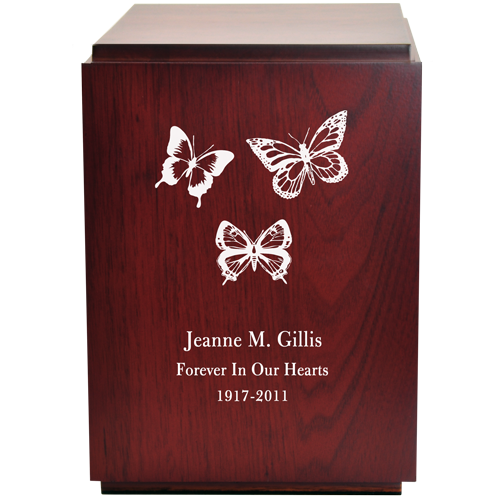 Classic Cherry Finish Wood Urn with Engraved Butterflies