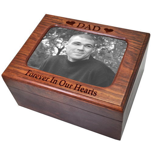Memory Chest Wooden Box Urn with Photo Window