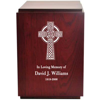 Classic Cherry Finish Wood Urn with Engraved Celtic Cross