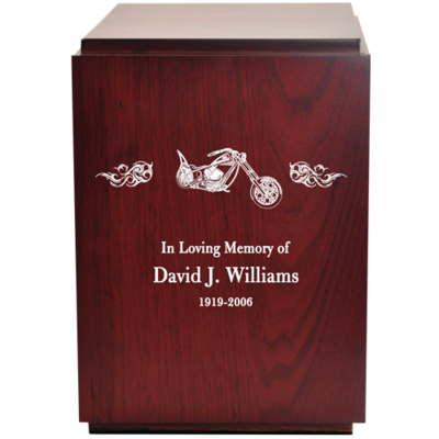 Classic Cherry Finish Wood Urn with Engraved Motorcycle and Flames