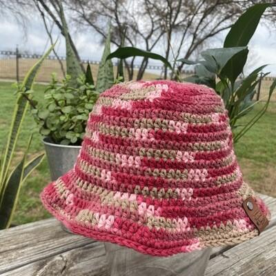 Crochet Bucket Hat - Pink Rush