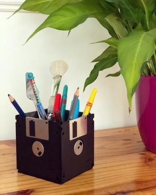 Floppy Disk Desk Tidy - Upcycled (Black)