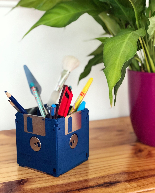 Floppy Disk Desk Tidy - Upcycled (Blue)