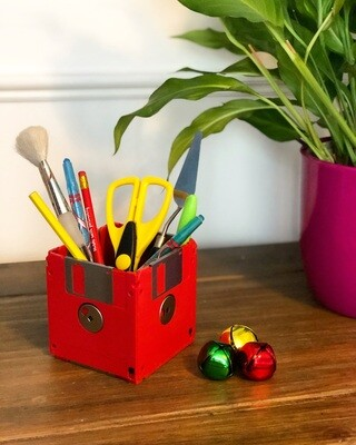 Floppy Disk Desk Tidy - Upcycled (Red Limited Edition)