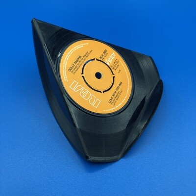 Upcycled Vinyl 7'' Single Phone Stand - 'Love With Feeling' Dolly Parton.