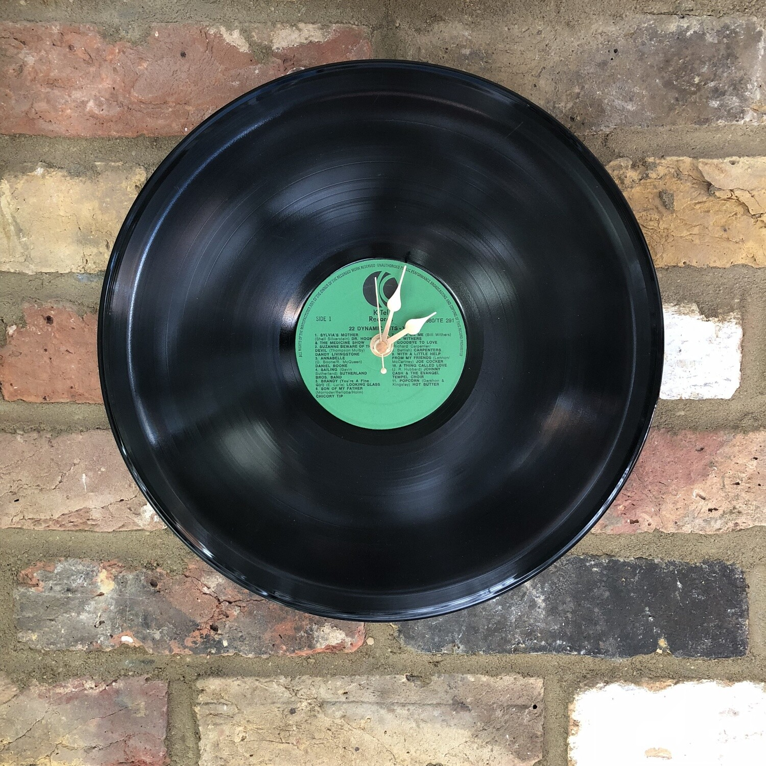 """12"""" Vinyl LP Clock- Stretched - '22 Dynamic Hits' - Featuring Chicory Tip, Joe Cocker and Johnny Cash. K-tel Records."""