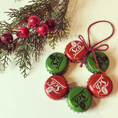 Bottle Cap Christmas Tree Decoration - Schweppes Wreath