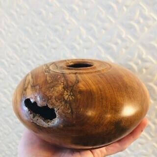 Blackwood Apple Hollow-Form, Spalting, Natural Fissure, Turned & Carved