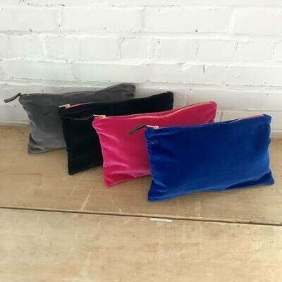 """Flett Velvet Zipper Bag Clutch 12""""x7"""""""
