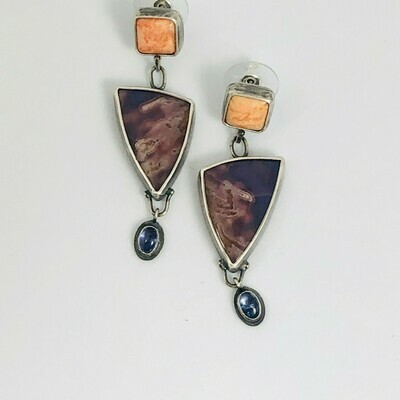 Spiny Oyster Shell, Agua Nueva Agate & Tanzanite Earrings