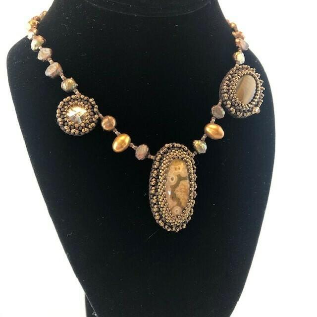 Swarovski Crystal, Jasper & Tiger Eye Necklace w/ Pearls