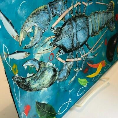 Kerr Decoupage Plate - Lobster/Veggies (7x11.25)