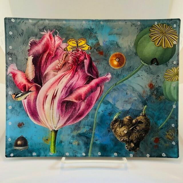 Kerr Decoupage Plate - Pink Tulip/Yellow Butterfly (8x10)