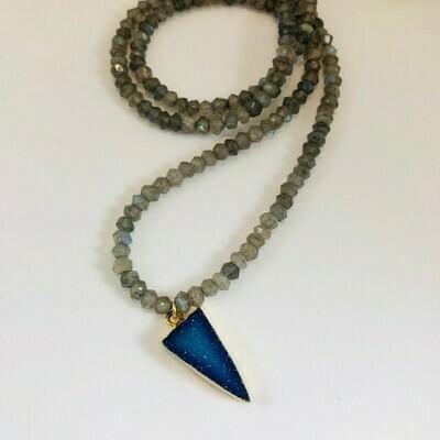 NT Blue Druzy & Labradorite Necklace