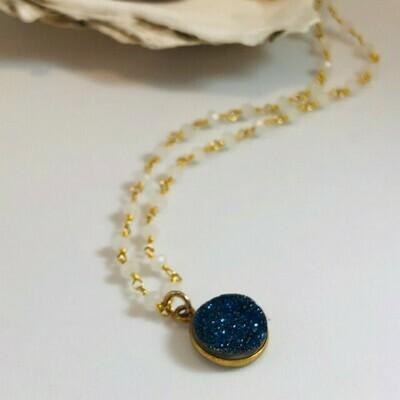 NT Blue Druzy & Chalcedony Necklace