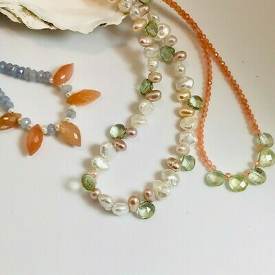NT Keshi, Peach Pearl & Green Amethyst Necklace