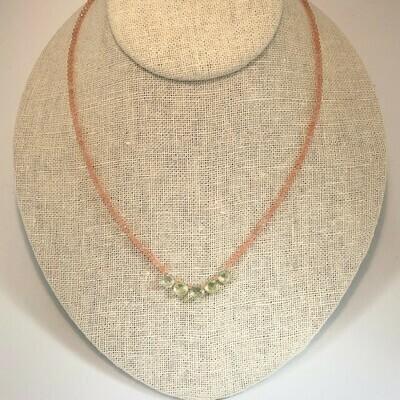 NT Prehnite & Tiny Peach Moonstone Necklace