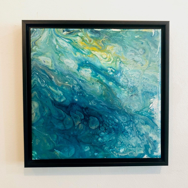 ACH 'Ocean Series III' AcrylicPour on 8x8 Canvas w/ Frame