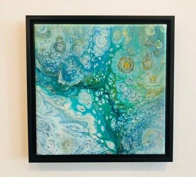 ACH 'Orbital Ocean' Acrylic Pour on 8x8 Canvas w/ Frame