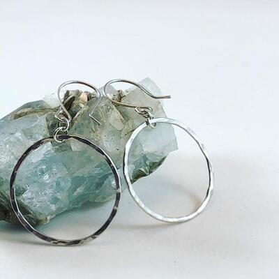 ACH Simple Silver Hammered Hoops